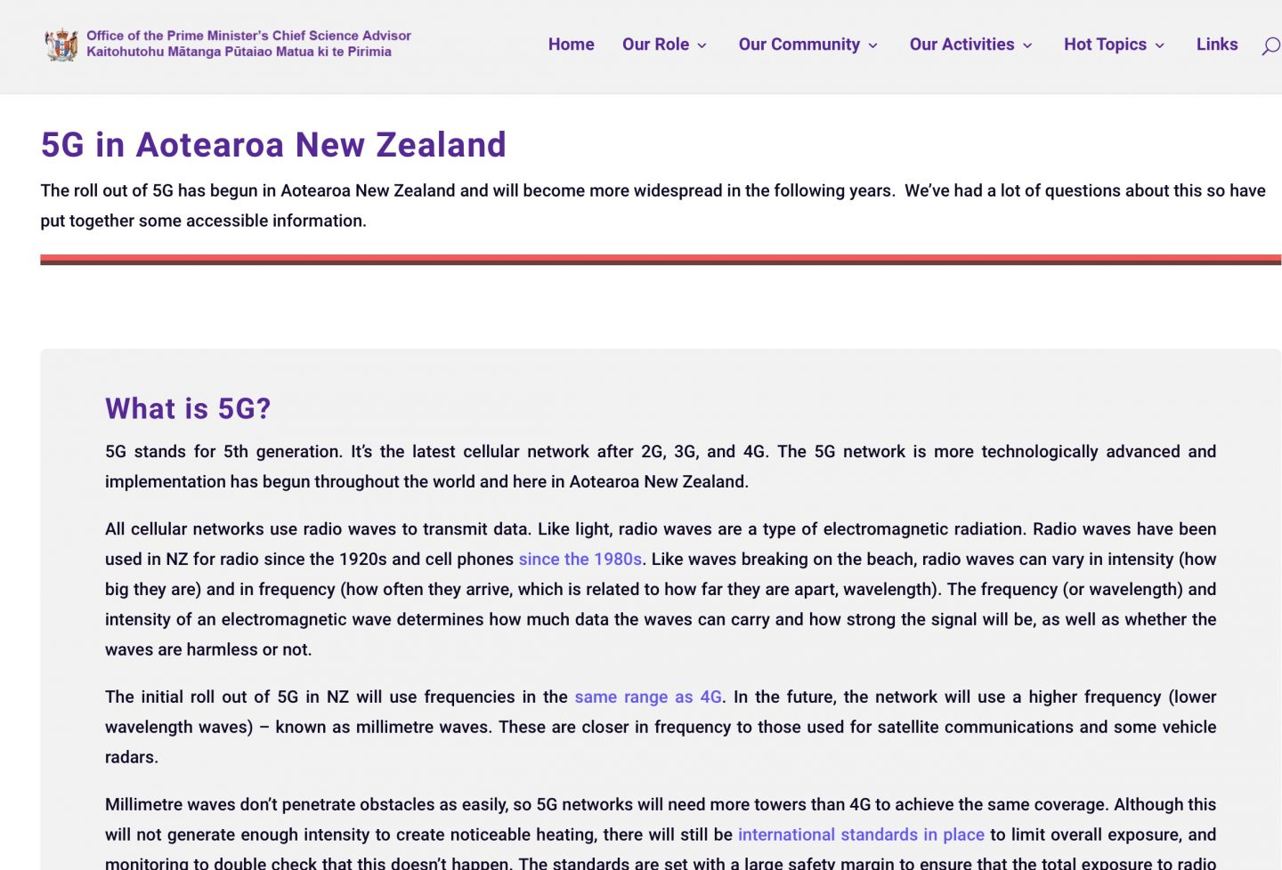 chief science advisor 5G site